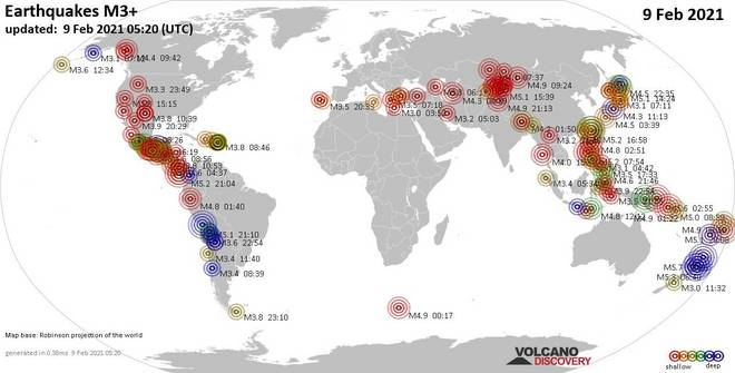 Worldwide earthquakes above magnitude 3 during the past 24 hours on 10 Feb 2021